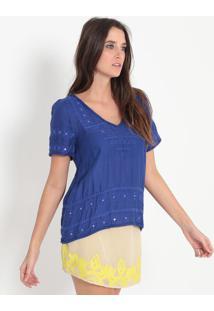 Blusa Texturizada Com Bordados - Azul Escuro - Ellusellus
