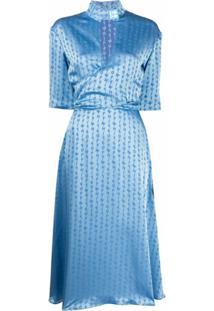 Off-White Vestido Midi Jacquard Com Logo - Azul