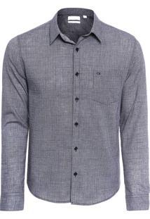 Camisa Masculina Slim Geneva Militar Com Bolso - Preto