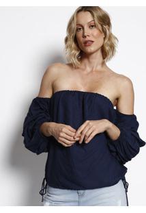 Blusa Ciganinha Com Elástico- Azul Marinho- Maria Vamorena Rosa