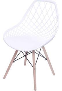 Cadeira Boom Polipropileno Branco Com Base Madeira - 55929 Sun House