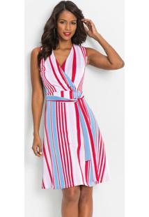 Vestido Com Faixa Na Cintura Listras Rosa E Azul