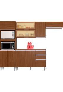 Cozinha Compacta 10 Portas E 2 Gaveta C/ Balcão Aline-Poquema - Capuccino