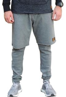 Calça / Bermuda Cnx Clothing Moletom Sobreposição Nyc Cinza Mescla