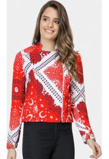 Jaqueta Arabescos Com ZãPer- Vermelha & Branca- Lez Lez A Lez