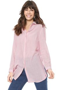 Camisa Cantão Listrada Off-White/Rosa