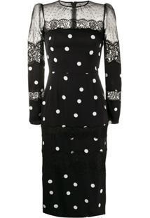 Dolce & Gabbana Polka-Dot Fitted Dress - Preto