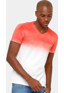 Camiseta Calvin Klein Gola V Degradê Tinturada Masculina - Masculino
