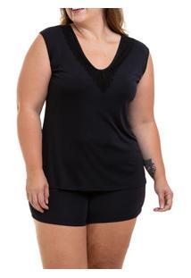 Pijama Curto Regata Liganete Sepie (1051-Pl) Plus Size - Preto