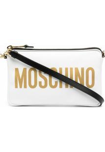Moschino Logo-Print Clutch Bag - Branco