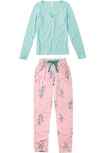 Pijama Longo Floral Feminino
