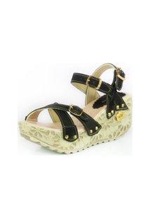 Sandalia Feminina Top Franca Shoes Plataforma Anabela Preto