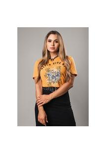 T-Shirt Estonada Never Give Up Amarelo