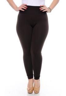 Calça Slim Fashion Plus Size Legging Modeladora Marrom
