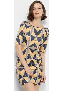 Vestido Lança Perfume Tubinho Curto Estampado Gola Canoa - Feminino-Marinho+Amarelo
