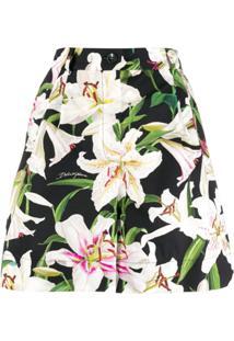 Dolce & Gabbana Short Com Padronagem Floral - Preto