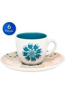 Conjunto De Xícaras Para Chá Com Pires 6 Peças Coup Etnia - Oxford - Azul / Branco