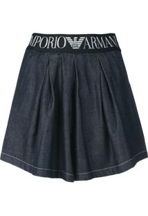 Emporio Armani Bermuda Jeans Com Logo - Azul