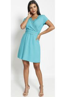 Vestido Transpassado Com Renda- Verde- Vip Reservavip Reserva