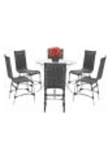 Jogo Cadeiras 6Un E Mesa Alta Sevilha Para Edicula Jardim Area Varanda Cozinha - Preto