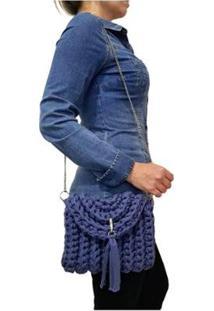 Bolsa Transversal Sapatoweb Crochê Algodão Feminina - Feminino-Azul