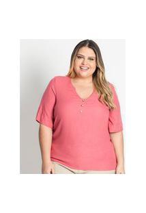 Camisa Feminina Plus Size Creponada Secret Glam Rosa