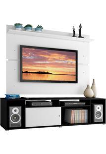 Rack Madesa Cancun E Painel Para Tv Até 65 Polegadas - Preto/Branco/Branco Preto