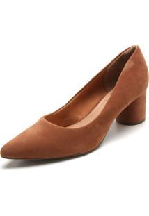 Scarpin Dafiti Shoes Camurça Caramelo