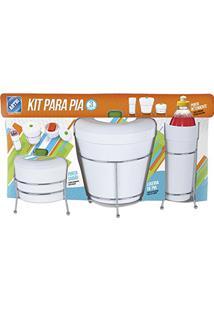 Kit Para Pia Luxo Cromado Com Lixeira Porta Detergente E Porta Sabao 6 Pecas Arthi