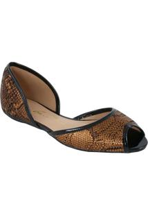 Sandália Rasteira Em Couro Metalizada - Bronze & Pretaluiza Barcelos