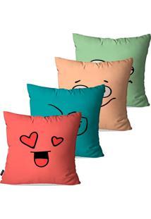 Kit Com 4 Capas Para Almofadas Decorativas Coloridas Carinhas Expressão 45X45Cm