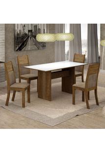Conjunto De Mesa De Jantar Florença I Com 4 Cadeiras Havaí Suede Branco E Cappuccino
