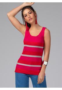 Blusa Em Tricot Canelado Listrada Pink