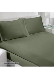 Jogo De Cama Rolinho King Size- Verde Militar- 3Pã§S