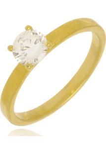 Anel Solitário Cristal Di Capri Semi Jóias X Ouro Incolor - Tricae