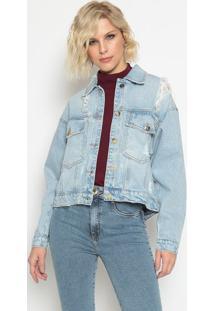 Jaqueta Jeans Com Destroyed - Azul - Lanã§A Perfumelanã§A Perfume
