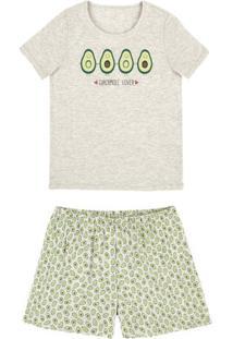 Pijama Feminino Em Malha De Algodão Com Shorts Estampado Em Outros Tamanhos