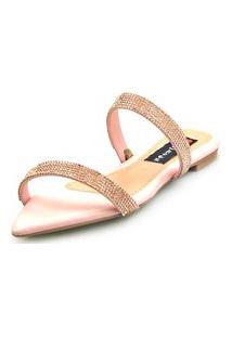 Sandalia Love Shoes Rasteira Bico Folha Strass Delicada Rosê