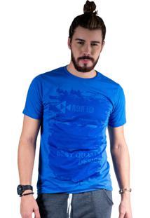 Camiseta Mister Fish Estampado Best Quality Azul Royal