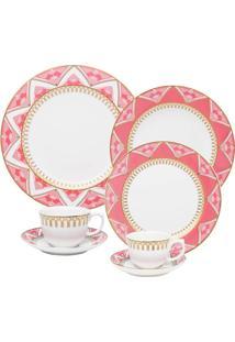 Aparelho De Jantar Chã¡ E Cafã© 42 Peã§As Flamingo Macram㪠- Multicolorido - Dafiti