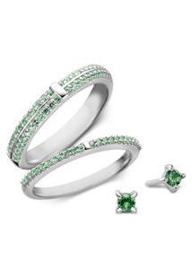 Conjunto Anéis E Brinco Ponto De Luz Life Glam Verde