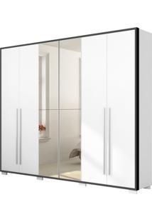 Guarda-Roupa Ipanema Robel Branco Com Preto Madeirado 6 Portas De Bater Com Espelhos