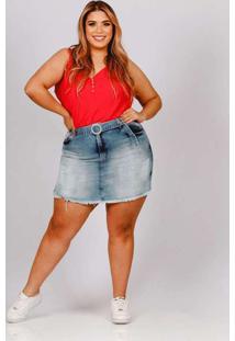 Shorts Saia Almaria Plus Size Fact Desfiado Jeans