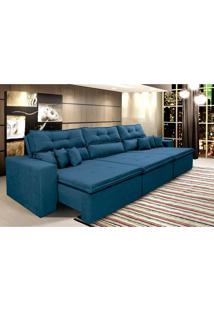 Sofá Cairo 3,52M Retrátil Reclinável, Molas No Assento, 6 Almofadas Tecido Suede Azul - Cama Inbox