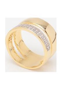 Anel Em Zircônia Banhado A Ouro 18K- Incolor & Douradokumbaya