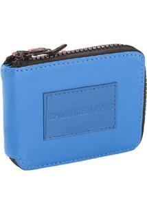 Carteira Ziper Ckj Etiqueta Couro - Azul Médio - U
