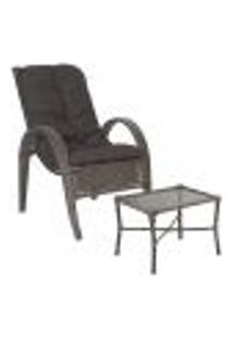 Jogo Cadeira 1Un E Mesa P/ Jardim Edicula Varanda Descanso Trama Napoli Plus Pedra Ferro A21