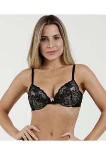 Sutiã Feminino Push Up Renda Laço Marisa