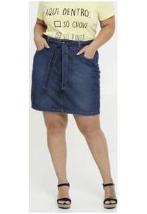 Saia Feminina Jeans Clochard Plus Size