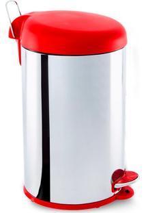 Lixeira Inox C/ Pedal 12L Tampa Vermelha - Brinox Vermelho